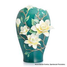 FZ02887 Franz Porcelain yellow magnolia large vase Ltd Edition 2000 New 2012