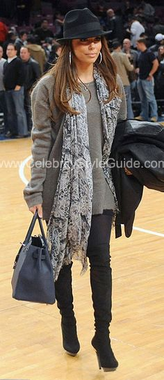 #EvaLongoria #Celebrity #Recreate Personally, I think Eva Longoria is highly underrated as a style star. Look fabulous anywhere - add major silver hoops, a printed scarf, over-the-knee boots and a fedora to a gray sweater and jeggings/skinny jeans.