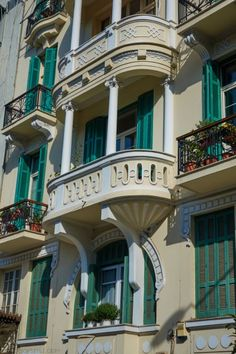 Architectural details in Olympou street, Thessaloniki town, Macedonia, Greece Art And Architecture, Architecture Details, Travel Around The World, Around The Worlds, Old Greek, Balcony Design, Thessaloniki, Beautiful Buildings, Greece Travel