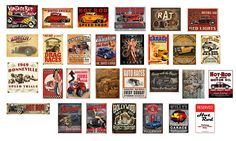 1/18 scale .Vintage garage signs set 3( Hot Rod). stickers/decals. GLOSS finish