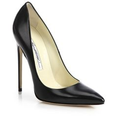 Brian Atwood Leather Point-Toe Pumps (€760) ❤ liked on Polyvore featuring shoes, pumps, heels, sapatos, chaussures, apparel & accessories, black, shiny black shoes, black shoes and black leather shoes