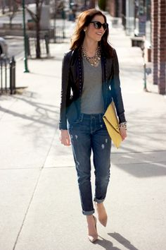 boyfriend jeans, large clutch, 2014 trends, jeans and heals, from day to night, date night,