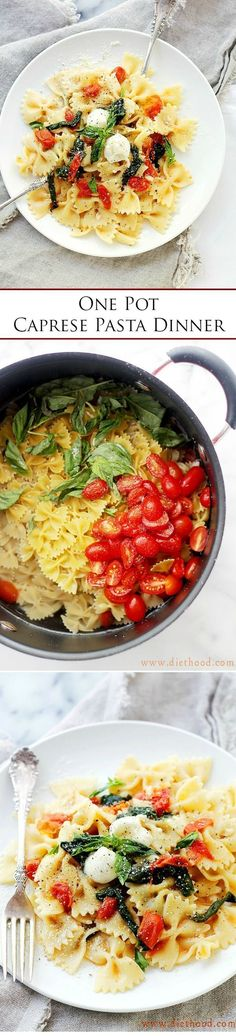 One-Pot Caprese Pasta Dinner - The quickest, most delicious pasta dinner you will ever make! It's all cooked in the same pot!