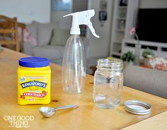 Homemade Spray Starch  Ingredients:  1 heaping tablespoon corn starch 1 pint water (ifyou have hard water you might want to use distilled w...