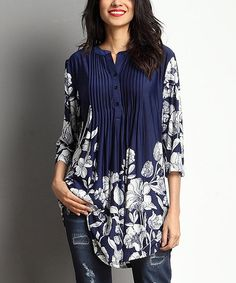 Navy & White Floral Notch Neck Pin Tuck Tunic
