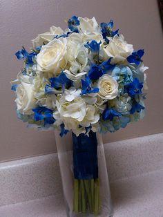 White Wedding Bouquets Blue