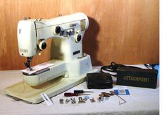 Necchi Lycia Vintage Sewing Machine & Lots Of Attachments Free-Arm With Carry Case circa 1950s