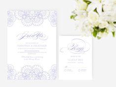 DIY Word Template Wedding Invitation Stationary Set  by xoBSpoke