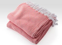 Cotton Herringbone Throw in White/Coral