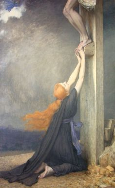 "el-guia-del-laberinto: ""loumargi: "" Jules Joseph Lefebvre (France, "" The Sorrow of Mary Magdalene, Jules Joseph Lefebvre "" Catholic Art, Catholic Saints, Religious Art, Religious Images, Joseph, Maria Magdalena, Noli Me Tangere, Beaux Arts Paris, Caspar David Friedrich"