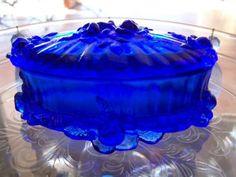 Fenton glass blue rose jewelry box