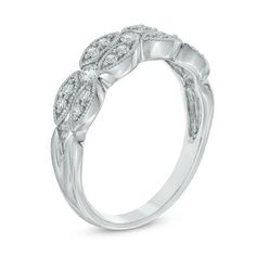 0.30 CT. T.W. Diamond Vintage-Style Double Row Band in 10K White Gold   View All Jewellery   Peoples Jewellers
