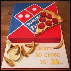 Domino's Pizza Birthday Cake with potato wedges