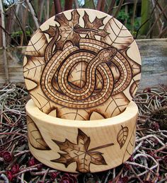 Snake Box with Leaves Wood Burning Pyrography