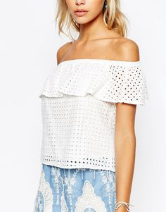 Image 3 ofFashion Union Sleeveless Frill Top in Geo Lace
