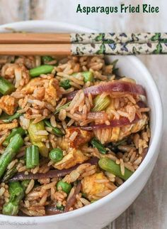 Asparagus Fried Rice is a fast, simple and delicious seasonal dinner that the whole family will love. via @thespicedlife