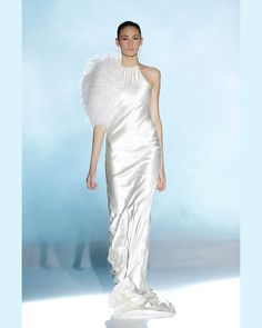 BRIDGET - Satin crepe gown in ivory  S83- Feather boa in ecru, available in ivory, peach and blue