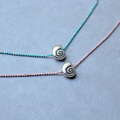 Shell Bead 'Oceana' Choker // Adjustable Blue or Pink Dainty Chain Necklace, Underwater Sea Theme