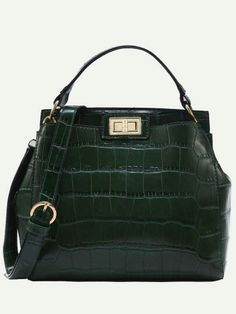 SheIn offers Crocodile Embossed Double Turnlock Satchel Bag   more to fit  your fashionable needs. 9f86224757