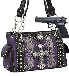 Purple Western Cross Rhinestone Concealed Carry Purse Handbags, Bling & More!  In Stock $69.99