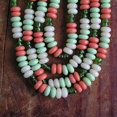 Summer necklace Vintage czech beads necklace Gift for her Old