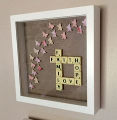 Faith hope love family scrabble art frame by Waystosay on Etsy(Diy Canvas Letters) Scrabble Kunst, Scrabble Tile Art, Scrabble Frame, Hobbies And Crafts, Crafts To Make, Craft Gifts, Diy Gifts, Scrabble Letter Crafts, Box Frame Art