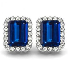 1.6cts Emerald Cut Tanzanite Earring With .32ctw Diamonds in 14k White Gold