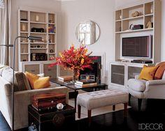 furniture layout corner fireplace #ELLEDECOR