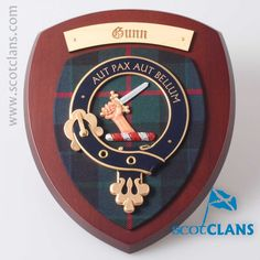 Gunn Clan Crest Wall Plaque. Free worldwide shipping available. Free worldwide shipping available