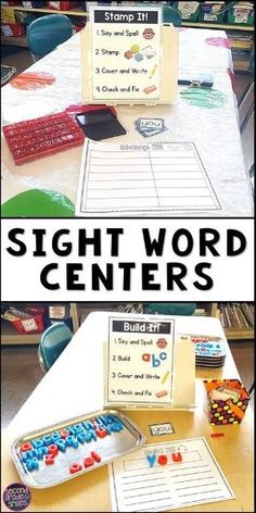 Looking for fun independent sight word centers for your kindergarten, first grade, or second grade class? Use these hands on activities with any high frequency word or spelling list. Visual directions make them easy to teach and prep! by sabrina