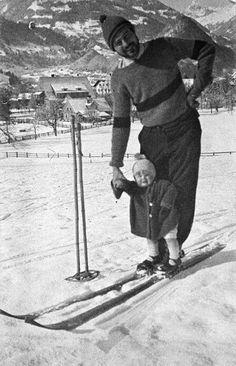 "Ernest and Jack ""Bumby"" Hemingway posing on skis in Schruns, Austria, Winter, Vintage Ski, Vintage Travel Posters, Vintage Sport, Ernest Hemingway, Xc Ski, Ski Posters, Alpine Skiing, Nordic Skiing, Vintage Hawaii"