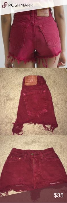 ♠️ Maroon Levi's Jean Shorts ♠️ Levi's Denim Jean Shorts - Vintage  Size 10 (36in this is the amount of inches around your waist. Just underneath your belly button)  - Deep Red - Maroon - Burgundy  - High waisted - Semi loose fitting - Cut Offs  - Comfortable & Hipster  - NWOT. Perfect new condition - Vintage - Distressed  - Purchased from Pacsun  - 90's Grunge Style Levi's Shorts Jean Shorts