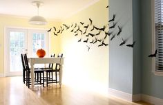 Spooky flock of bats for the wall, and so simple to make!  Just make a pattern then cut out of construction paper!
