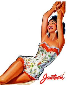 Jantzen is celebrating 100 years of glamorous swimwear. To that end I thought best to feature some Jantzen Vintage Ads from the All I can think in loo Pin Up Vintage, Moda Vintage, Vintage Ads, Vintage Posters, Creepy Vintage, Vintage Stuff, Vintage Bathing Suits, Vintage Swimsuits, Swimsuits 2014