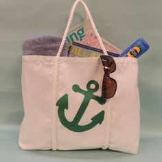 Sailcloth Tote with Anchor Design, Large Guess Handbags, Tote Handbags, Leather Purses, Leather Bag, Gifts For Sailors, How To Make Rope, Over The Shoulder Bags, Sailing Outfit, Black Purses