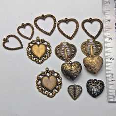 Vintage Metal Hearts  Pendant Charm by oscarcrow on Etsy