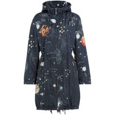 Valentino Constellation Print Parka (£2,260) ❤ liked on Polyvore featuring outerwear, coats, jackets, multicolor, valentino coat, print coat, lightweight coat, lightweight parka and parka coat