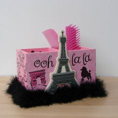 pink and black paris eiffel tower  desk by FUNctionalArt4Kids, $15.95