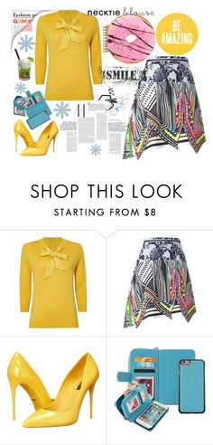 """""""The yellow neck tie blouses"""" by jelena-topic5 ❤ liked on Polyvore featuring Marella, Preen, Dolce&Gabbana, Caipirinha, Iscream, yellow and neck"""