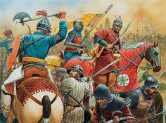 The Battle of Khirokitia (7 Jul. 1426) 1: Mamluk amir officer;  2: Mamluk standard bearer;  3: Mamluk middle ranking 'askari;  4: Mamluk second-line troops;  5, 6, 7: Cypriot soldiers;  8: King Janus of Cyprus