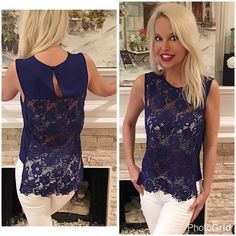 Royal blue hi lo lace top-gorgeous Beautiful detail in this piece! I love the hi lo split hem with scalloped edge - very feminine and easy to wear!  Follow me on Instagram @kfab333 for more items😊 Tops Tank Tops