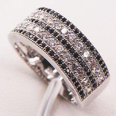 Negro zafiro diamante simulado 925 anillo de plata mujer del tamaño 5 6 7 8 9 10 11 12 F586 venta al por mayor envío gratuito