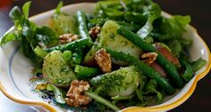 Potato and Green Bean Salad with Arugula Pesto* Recipe (the vegetarian section of this low sosium site has some yummy ideas)