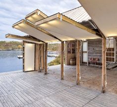 Walls swing upward to become a lighted deck awning! Awesome!