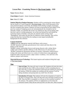 lesson plans for american literature | Lesson Plan Examining Themes in The Great Gatsby EIII