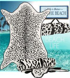 Maslin & Co reversible leopard-print brushed-cotton beach towel
