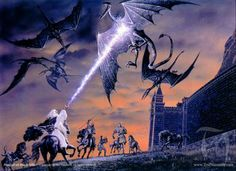 Gandalf lightning-bolting the nazguls.