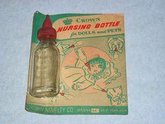 Original Package Vintage 50's Crown Nursing Bottle for Dolls