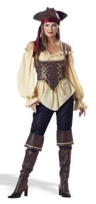Adult Female Pirate Costume - Rustic Pirate Lady. This top quality and sassy costume includes a gold trimmed embossed vinyl corset vest*, gauze blouse, pants, bandana, gold trimmed boot tops and hat.