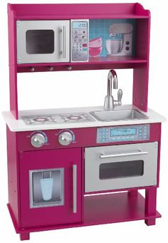 Kidkraft Gracie Toddler Kitchen - nice but pink Toddler Kitchen, Kitchen Sets For Kids, Toy Kitchen, Wooden Kitchen, Vintage Kitchen, Kitchen Appliances, Kitchen Playsets, Chest Furniture, Kids Furniture